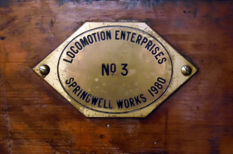 Novelty replica, Swedish Railway Museum, Gavle, 25 July 2015 2.  The works plate.  Locomotion Enterprises had previously built working replicas of Locomotion and Rocket.