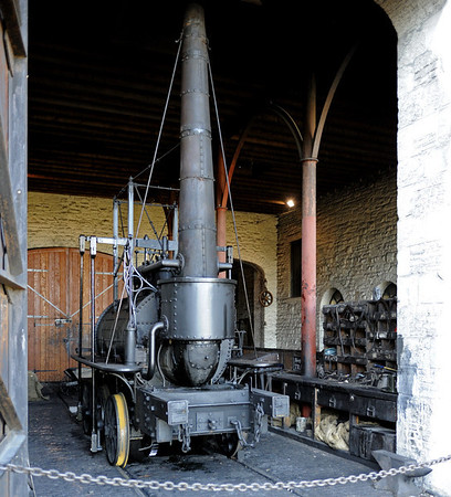 Replica of Steam Elephant, Pockerley Waggonway, Beamish museum, 8 October 2012.  Steam Elephant is a geared 0-6-0, known only from an 1815 painting.  It was designed by John Buddle and William Chapman for the Wallsend colliery, Tyneside.  This working replica was built at Beamish in 2006.