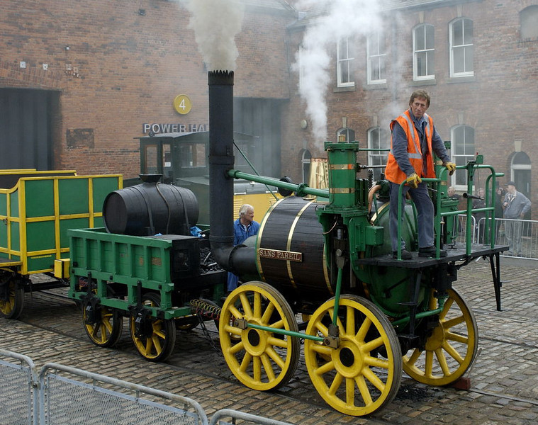Replica of Sans Pareil, Manchester Museum of Science & Industry, 15 September 2005 1.  This working replica was built at Shildon for the  Rocket 150 event, held to celebrate the 150th anniversary of the Liverpool & Manchester Rly in 1980.  It is seen during the Riot of Steam held by the Manchester museum to celebrate the Rly's 175th anniversary.