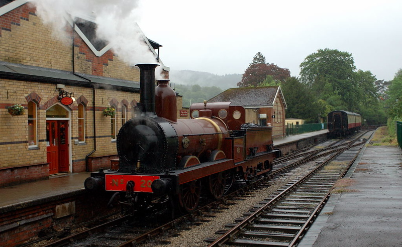 Furness Rly No 20, Lakeside, 21 May 2006.  No 20 runs round its train of two Mark 1 carriages.