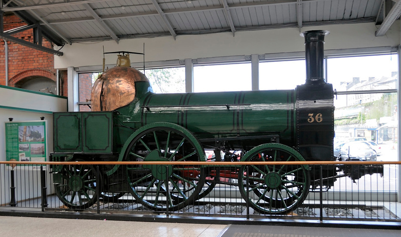 GSWR 2-2-2 No 36, Kent station, Cork, 11 May 2012.  No 36 was one of 20 passenger engines supplied to the Great Southern & Western Rly in 1847 by Bury, Curtis & Kennedy of Liverpool.  Like Coppernob it uses that company's trademark copper-clad firebox.  At withdrawal in 1874 No 36 had run no less than 487,918 miles.