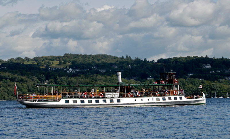 Tern, approaching Bowness, Sat 23 July 2011.  The Furness Rly had Tern built in 1891.  Now diesel-powered, she has never been withdrawn and is now operated by Windermere Lake Cruises.