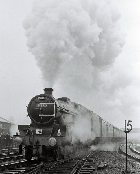 45562 Alberta, 1Z06, leaving Bradford Exchange, 6 May 1967.  The Jubilee hammers up the 1 in 50 to Bowling Junction with the RCTS Northeastern No 3 railtour to Whitby.  45562 was withdrawn in November 1967, the very last Jubilee to survive.