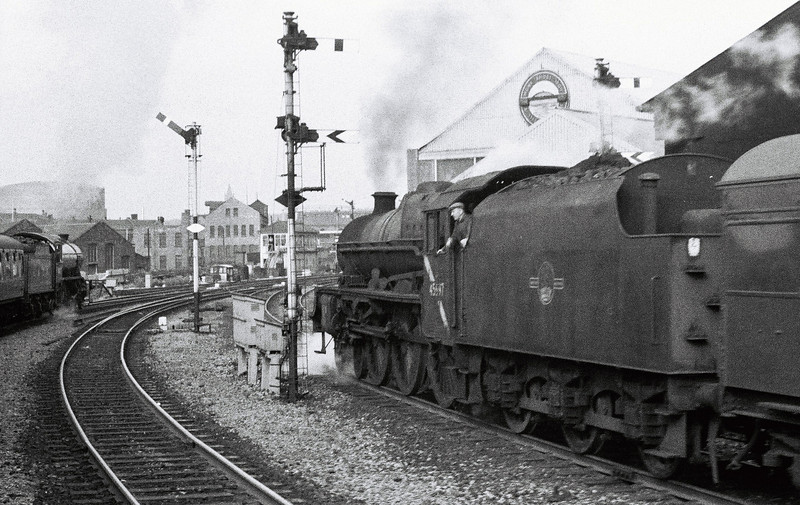 3442 The Great Marquess & 45697 Achilles, Whitehall Junction, Leeds, 10 September 1966.  The Marquess overtakes Achilles on a parcels train as the pair approach Whitehall Junction Signal Box.  The K4 was working a Leeds - Ravenglass tour organised by the Middleton Rly Trust.