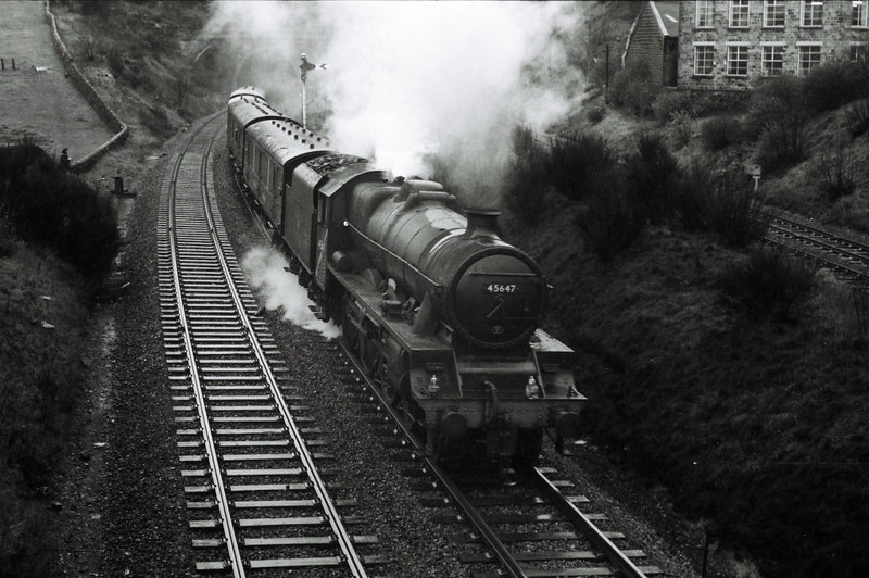 45647 Sturdee, Thackley, April 1967 1.  Heading west towards Shipley with a parcels train.