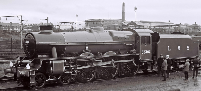 5596 Bahamas, Stockport Edgeley shed, 16 March 1968    Bahamas had been withdrawn in July 1966.  It was bought by the Bahamas Locomotive Society and is seen following an overhaul and repaint by Hunslet.