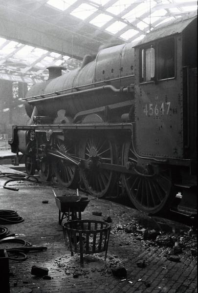 45647 Sturdee, Leeds Holbeck shed, 4 February 1967