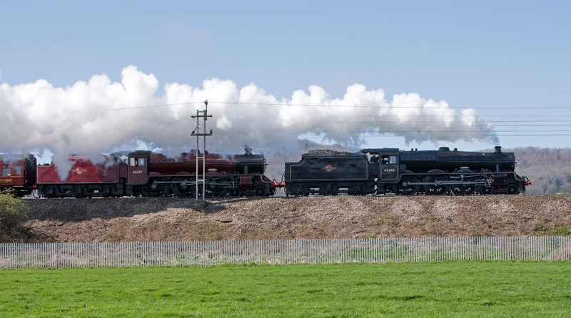 45690 Leander & 45699 Galatea, 5Z65, Carnforth, Fri 20 April 2018 - 1339.  The very rare sight of Carnforthth's two Jubilees working in tandem as they set off for Carlisle to take the Great Britain 11 tour to Edinburgh.