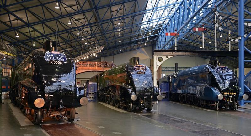 60008 Dwight D Eisnhower, 60009 Union of South Africa & 4464 Bittern, National Railway Museum, York, 5 July 2013