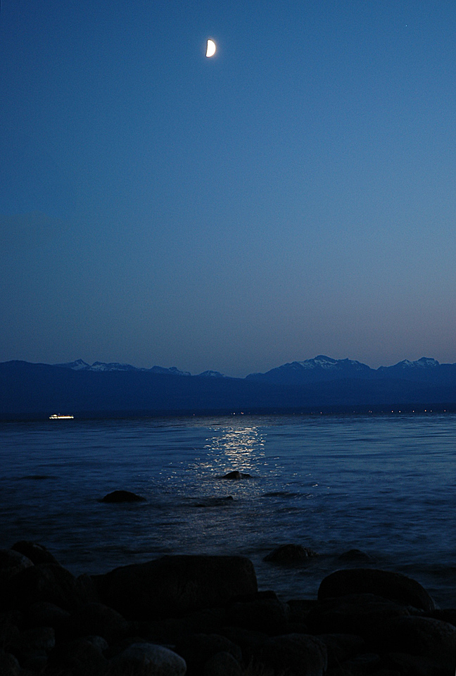 Moonlight on the water, looking west.
