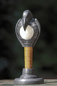 Raven Stealing the Sun, a Haida Argillite and alabaster rattle carved by Gary Minaker-Russ