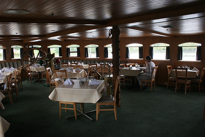 A solitary diner in the Canadian Princess in Ucuelet harbor