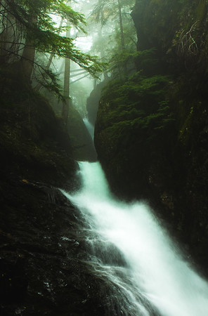 Rainy day waterfall