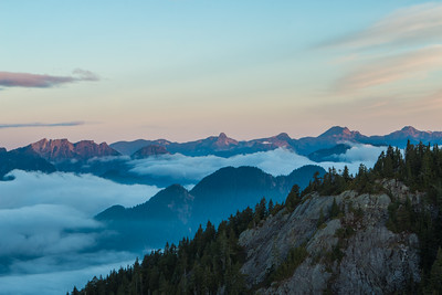 Sunrise over the mountains. Mount Seymour BC