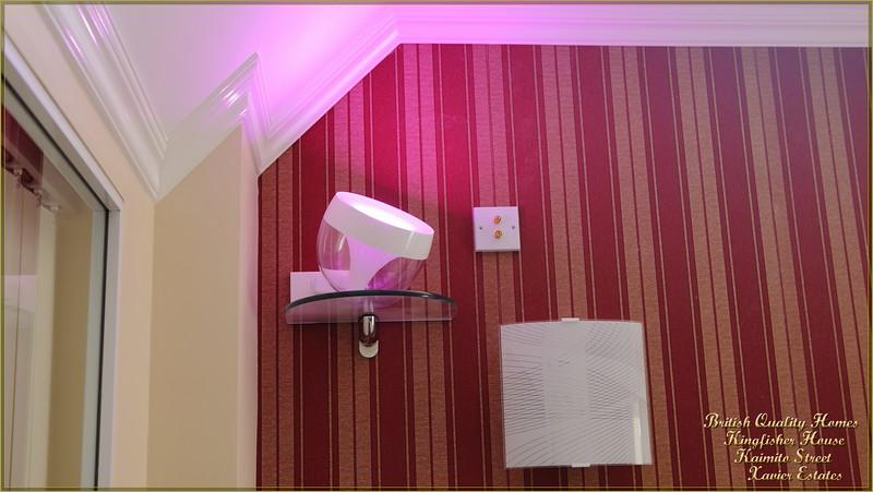 Master Bedroom Philips Mood Lighting on Glazed Shelf, Audio Wallplate & Wall Light
