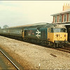 Class 50, 50012 'Benbow', arrives at Andover with 1V14; 1410 London Waterloo-Exeter St. David's - 23 March 1986.