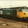 Class 50, 50044 'Exeter', stands at Andover with the 1110 London (Waterloo)-Exeter St. David's  - 23 March 1986.