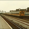 'Jaffa Cake' liveried Class 411 EMU, 411523, brings the 1255 London (Charing Cross)-Ramsgate service into Tonbridge - 20 March 1986.