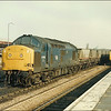 Class 37 (37189) heads a train of HDA coal hoppers through Westbury Station - 18 February 1987.