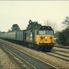 Large logo Class 50 (50049 'Defiance') powers through Taplow with 1F27 (0940 Oxford-London Paddington) - 17 February 1987.