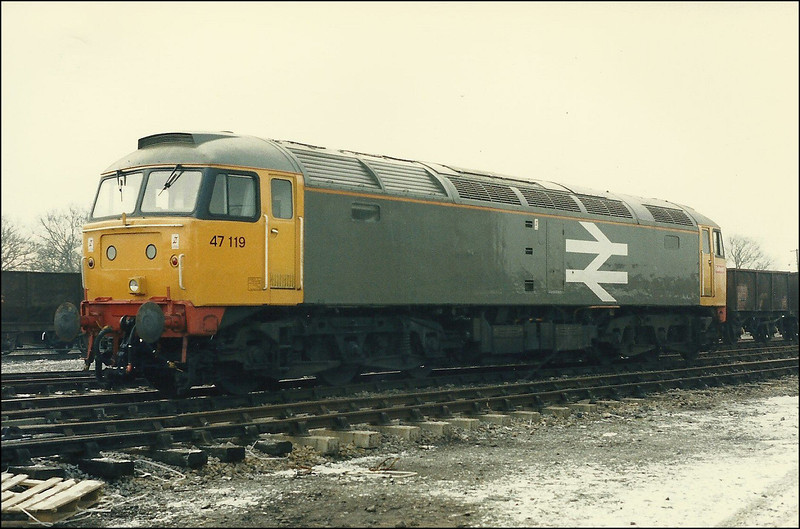 Dutch liveried Class 47 (47119) stands stabled at Westbury - 18 February 1987.