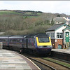 An unidentified First Great West HST, with a London (Paddington)-Penzance service, passing Lostwithiel signal box - 28 March 2006.