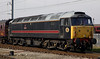 47703 Hermes, 5Z44, Carnforth, 22 April 2005 - 1046.  At the time of this photo, WCRC were short of diesels and had hired four Fragonset locos.  47703, 31602 & 31190 had arrived at Steamtown on the 21st via Preston.  Here, 47703 backs WCRC's ECS out of Steamtown into the Carnforth loops.  31602 Chimaerea was on the other end.  The train went to Ferme Park via Skipton.