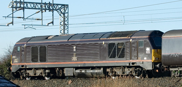 A rather grubby 67005 Queen's Messenger passes Bolton-le-Sands with the southbound royal train on 5 February 2007.