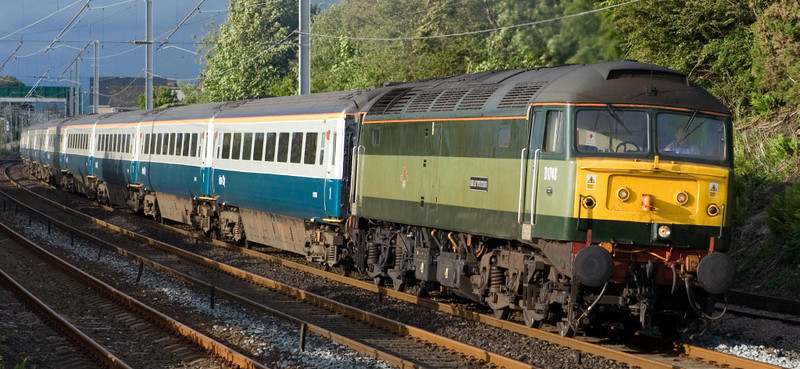 47815 Great Western & 47812, 5Z95, Hest Bank, 29 May 2007 - 1913 1.   Delayed for six hours by brake problems, 47815 heads the Barrow - Crewe ECS from its Compass Tour to Newcastle.