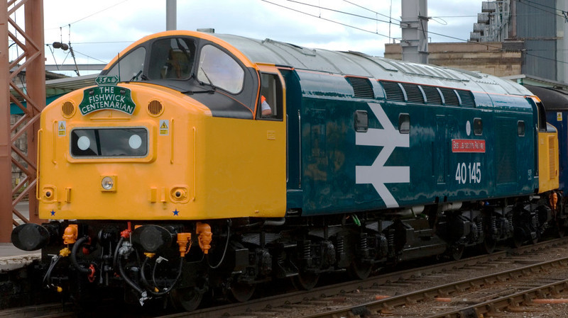 40145 East Lancashire Railway, 1Z41, Carlisle, 28 July 2007 - 1 1350.   The 40, newly repainted and named, stands at the head of the Fishwick Centenarian, due to have left at 1321 for Preston via Hexham, Doncaster and Edale.  40145 had earlier worked the train between Manchester and Preston (1Z40), where 6201 took over for the run to Carlisle via Settle.