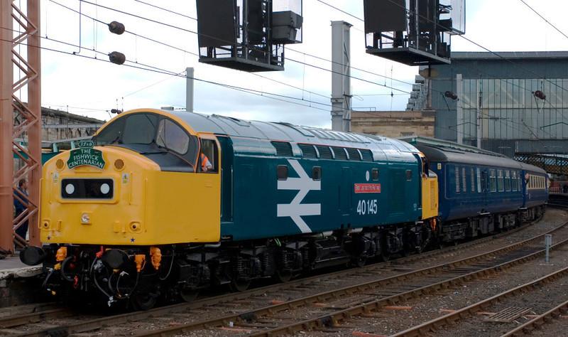 40145 East Lancashire Railway, 1Z41, Carlisle, 28 July 2007 4 - 1401.   The Fishwick Centenarian finally gets away 40 minutes late.