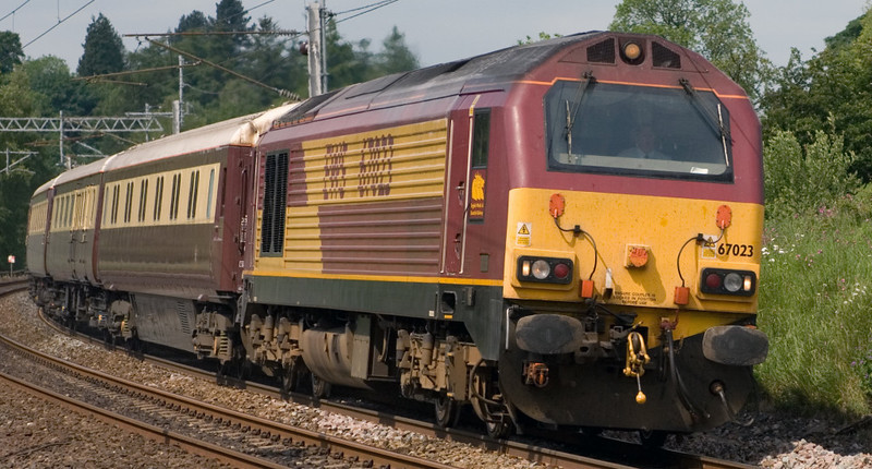 67023, 1Z67, Grayrigg, 7 June 2007 - 1144.   The Northern Belle from Peterborough to Penrith for Ullswater and Carlisle.