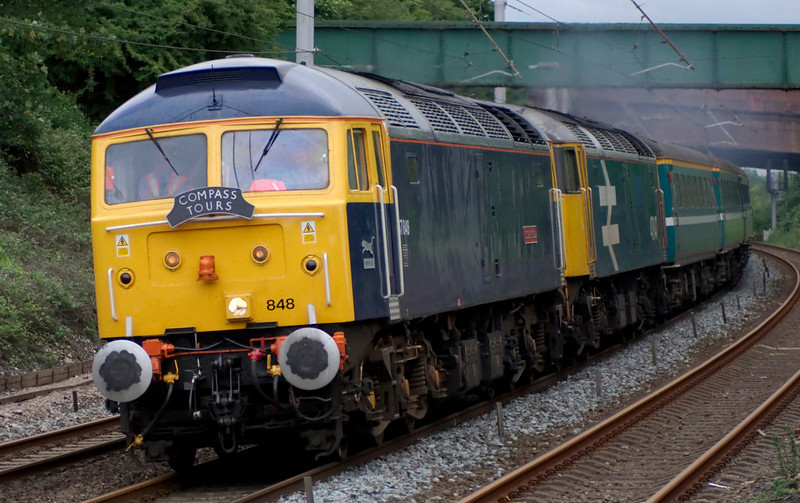 47848 Titan Star & 47847, 5Z65, Hest Bank, 15 June 2007 - 1840 1.   The 47s sweep round the Hest Bank curve with ECS for the next day's Compass tour from Carlisle to York via Manchester Victoria....