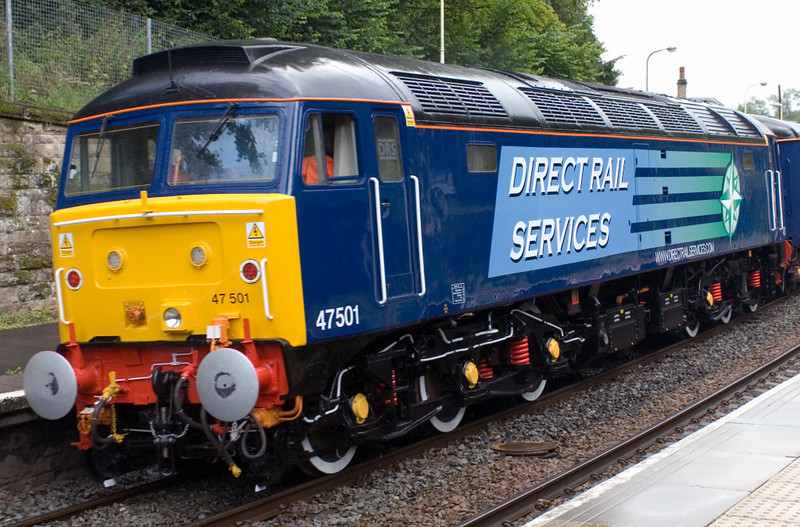 47501, 1Z66, Wetheral, 7 July 2007 - 1417.   The newly re-liveried 47 provides power for hotel services on DRS's first charter train, hauled by 66411 & 66405 from Carlisle to Newcastle and back.