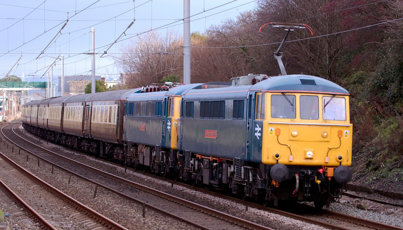 86101 Sir William A Stanier FRS & 87002 Royal Sovereign, 5E04, Hest Bank, Fri 21 November 2008 - 0959.    The preserved ACs head WCRC's Lakeland Pullman set on a very long ECS move from Carnforth to Doncaster via Crewe, Willesden and the ECML.  The train had been hired by FGBRf for a private charter on the 22nd from Doncaster to Edinburgh via the ECML.