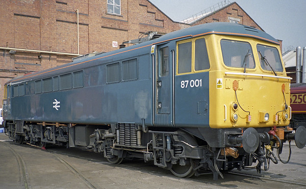 87001, Crewe Works, Sat 31 May 2003.  The pioneer 87 had just been repainted into BR blue.  It is seen without a name, just like when it first entered traffic in June 1973.