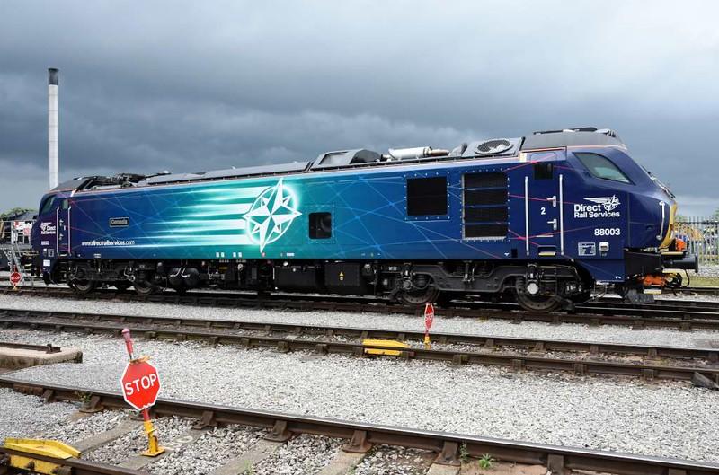 88003 Genesis, DRS open day, Kingmoor, Carlisle, Sat 22 July 2017.  Note the derailers on the two nearer tracks.