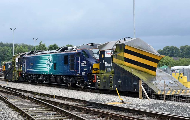 88001 Revolution, DRS open day, Kingmoor, Carlisle, Sat 22 July 2017.  An unlikely combination!  The independent snowploughs are ADB 965224 & 965230 (nearest).