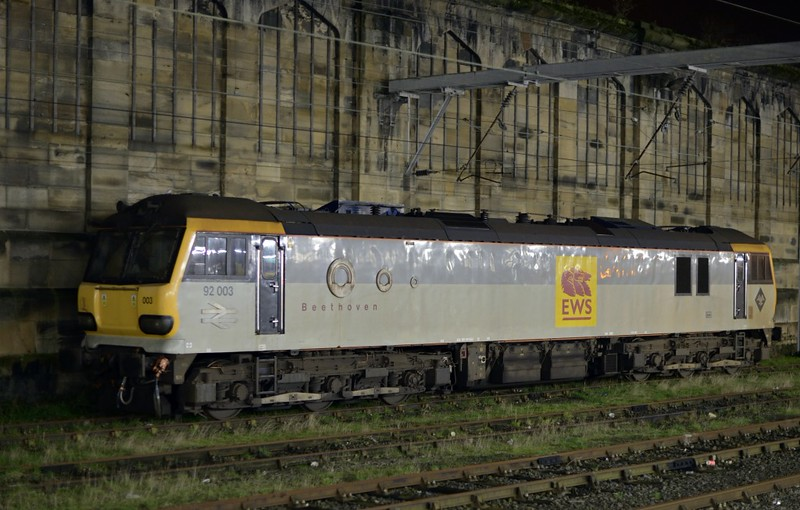 92003 Beethoven, Carlisle, Sun 12 January 2014 - 2002.  The DB Schenker loco was on hire to DRS.