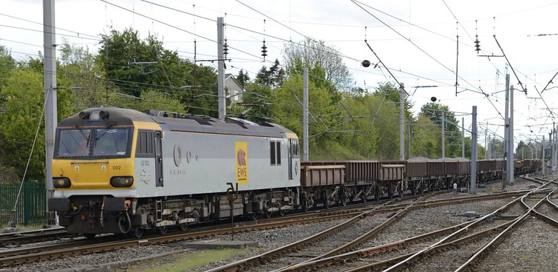92002 H G Wells, 6Z46, Carnforth, Thurs 23 May 2013 - 1647.   The very rare sight of a 92 on a ballast train, from Bescot to Carlisle with 40 MHAs and MTAs.
