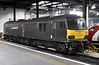 92010, Euston Wed 29 July 2015 - 1827.  GBRf's Caledonian Sleeper loco later worked the 1S25 highland sleepet to Fort William, Inverness and Aberdeen.  It was due to depart at 2055, but did not leave until 2308 because the Serco train crew could not book on until 2300.  This was because of severe problems encountered by the previous night's 1M16 highland sleeper to Euston.  After 90024 damaged its pantograph when it ran onto an unelectrified track at Waverley, 1M16 was hauled by 66710 with 67004 inside to rovide hotel services.  The 66 failed at Milton Keynes and the service was terminated.  92010 then took the empty stock to Wembley.  The Serco staff then needed their mandatory nine hour rest break until they could work 1S25, hence the late departure.