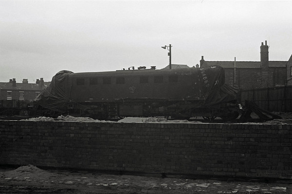E3009, Crewe Works, 1968.  This was the loco wrecked in the Hixon level crossing disaster on 6 January 1968.  It was hauling the 1130 Manchester - Euston, and slammed into a low-loader carrying a 120 ton transformer on the newly automated crossing.  Eleven people lost their lives, including three railwaymen in the cab of E3009.  It was scrapped at Crewe.