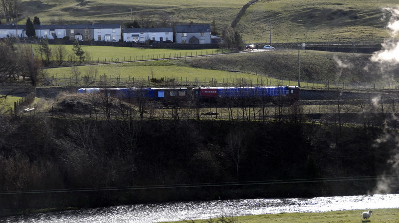 LMS 29896 (left) & 28361, Tebay, 1 April 2010.  Photographed from  the WCML, on a northbound steam special (6201 Princess Elizabeth).