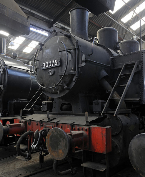 '30075', Barrow Hill, Sun 14 October 2012 1.  Numbered in sequence from the US Army Transportation Corps 0-6-0Ts bought by the Southern Rly in 1947, but actually built in Yugoslavia in 1960.