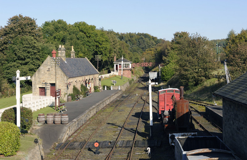 Rowley station, Beamish, Mon 8 October 2012 1.  Everything in this photo has been moved to Beamish from elsewhere.  The passenger station was opened in 1867 at Rowley, south of Consett on the line to Crook.  The 1896 signalbox came from Carr House East, also near Consett.
