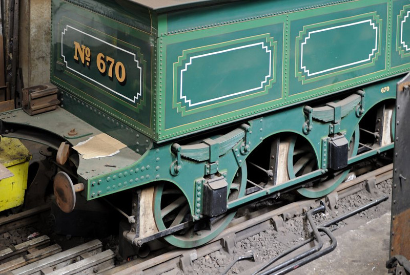 LNWR 'Bloomer' 2-2-2 No 670, Tyseley, Sun 26 June 2011 3.  NB the wooden brake blocks.
