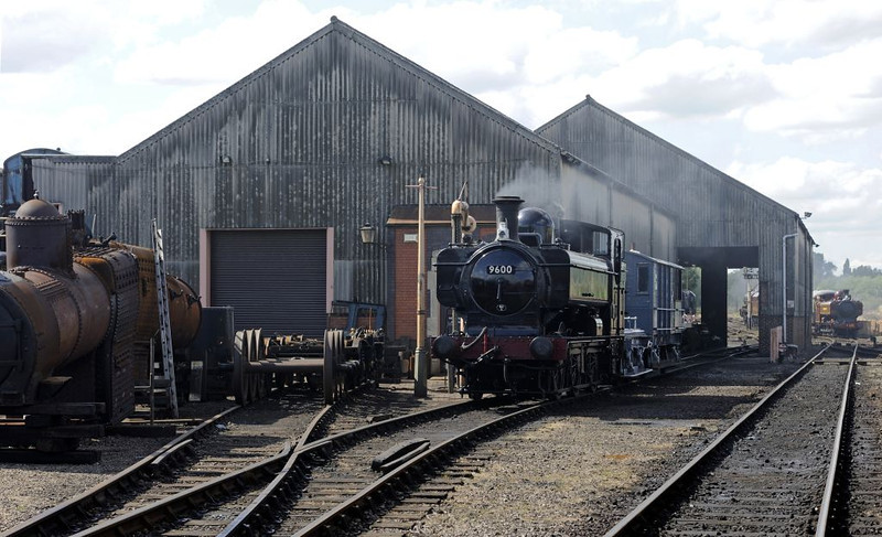 7760 (boiler, left), 9600 & L94 (7752), Tyseley, Sun 26 June 2011.  Here are Tyseley's three GWR 0-6-0PTs in one shot.