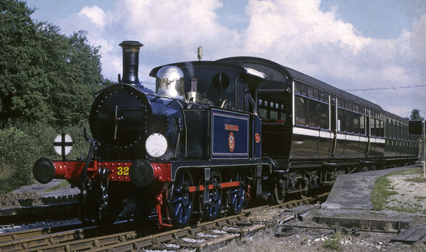 SECR 323 Bluebell (31323), Horsted Keynes, 11 September 1972.  Leaving with the 1120 to Sheffield Park.  Still on the Bluebell in 2014.  Photo by Les Tindall.