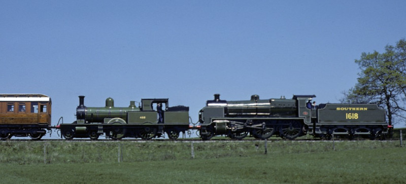 Southern Rly 1618 (31618) & LSWR 488 (30583), approaching Sheffield Park, 11 May 1980.  Photo by Les Tindall.