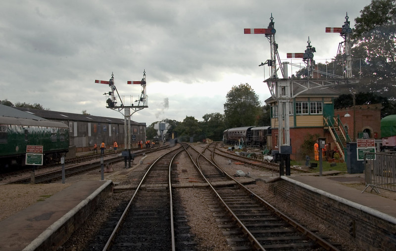 Horsted Keynes looking south, 16 September 2007 1 - 1618.   This is the first shot of six taken from the LNWR observation coach during a journey from Sheffield Park to Kingscote.  The signal at left is returning to danger following the departure of 34028 with the 1555 Kingscote - Sheffield Park, just visible in the distance.